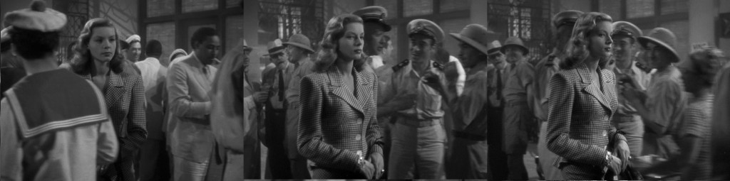 Caption: Lauren Bacall's zigzag in To Have and Have Not (1944).