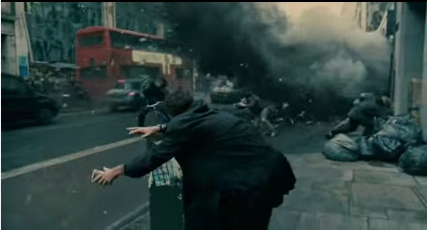 "Click to view film clip in criticalcommons.org:  ""Opening explosion and aftermath from CHILDREN OF MEN"""