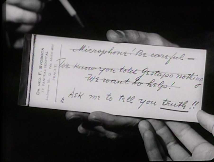 "Fig 6: ""Ask me to tell you the truth,"" Svoboda's note reads, a signal for Mascha to lie."
