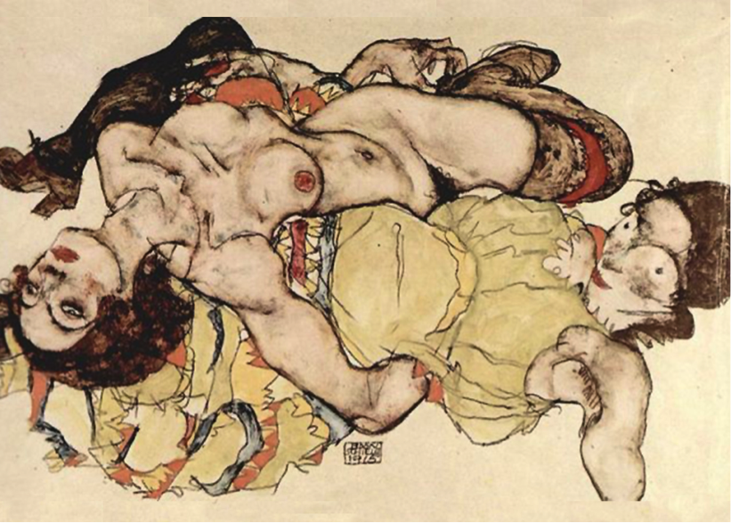 Figure 2: Egon Schiele, <em>Zwei Mädchen, in verschränkter Stellung liegend</em> (1915)