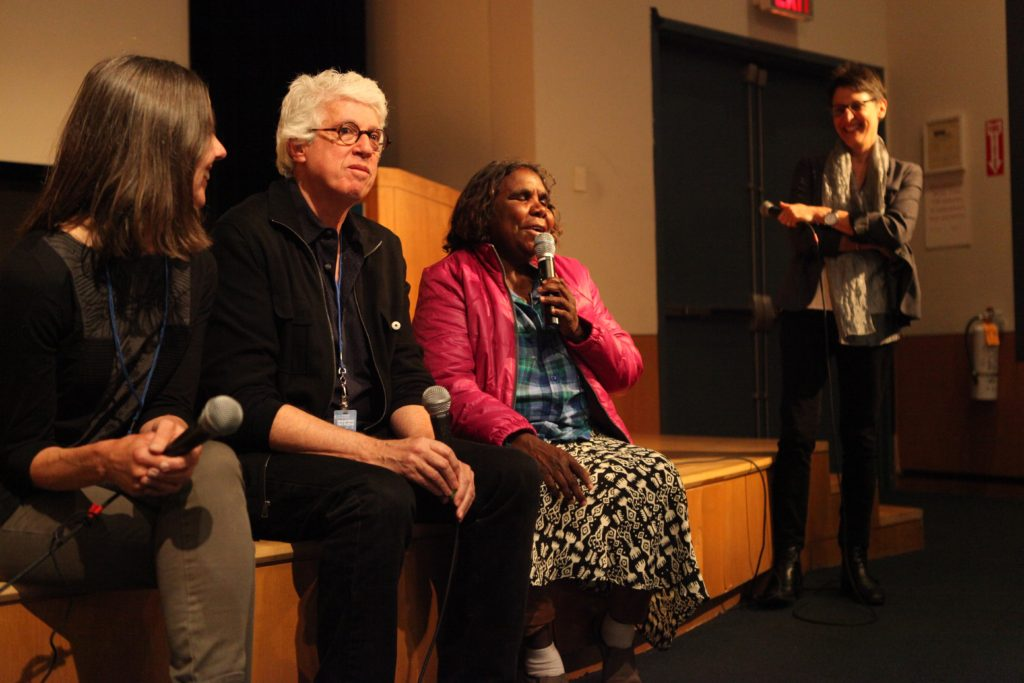 Pip Deveson, Fred Myers, and Marlene Nampitjinpa answering questions at the screening of Remembering Yayayi at the Margaret Mead Film Festival in New York City, October 2014.  Photo Credit Unknown.